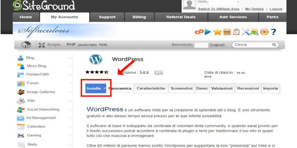 installare wordpress step 5